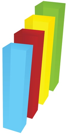 Color charts of rectangular translucent objects. Vector illustration.