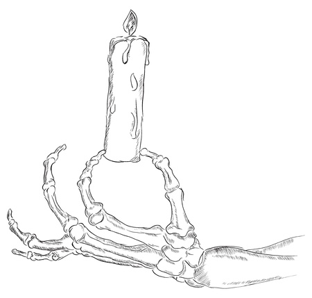 Hand skeleton holding a lighted candle. Vector illustration. Ilustracja