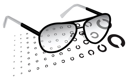testing vision: Glasses with a test chart for testing vision. Vector illustration.