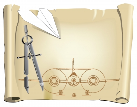Parchment with a drawing for a model aircraft with a paper airplane. Vector illustration.