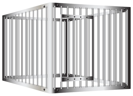 Cage with steel bars with a door. Vector illustration.