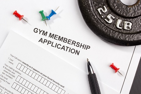 weight loss plan: Directly above photograph of a gym membership application. Stock Photo