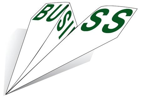 紙飛行機言葉ビジネスの図。