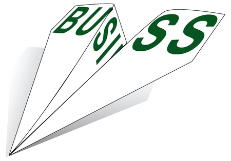 Paper Airplane with the words business illustration.