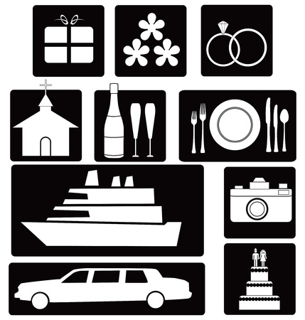 A set of wedding icons and symbols for design work illustration.