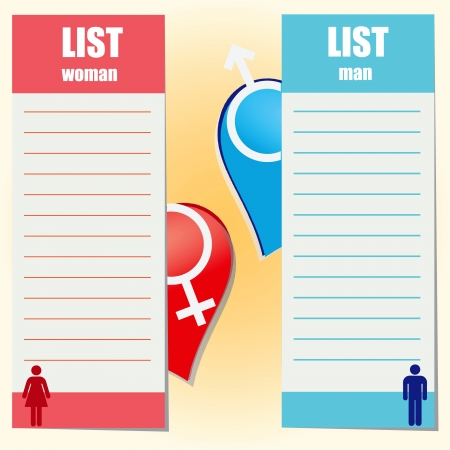 enumeration: List. As a woman and a man want illustration. Illustration