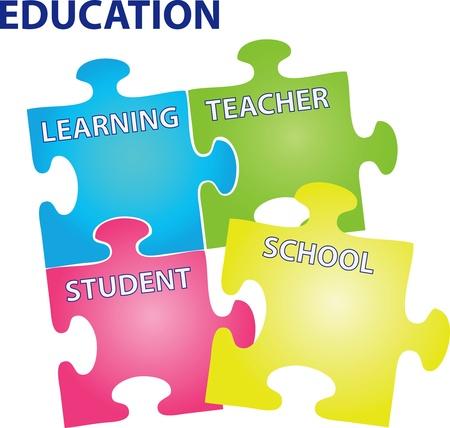successful student: puzzle con le parole sul tema dell'educazione.