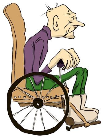 тощий: Дед сидит в инвалидной коляске. Иллюстрация