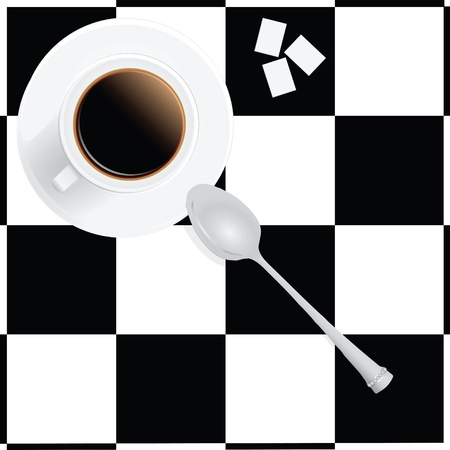 lump: A cup of coffee, three lumps of sugar, a spoon. Illustration