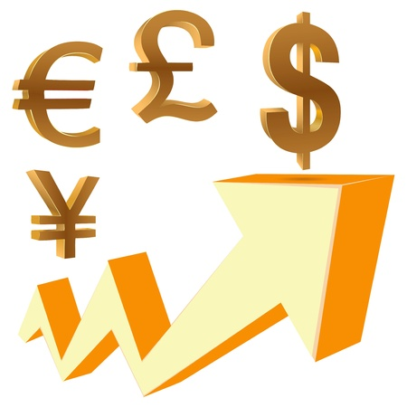 The dynamics of financial growth with currency symbols.  Ilustrace