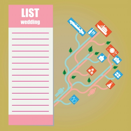 checklist: List of events during the wedding.