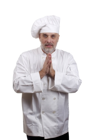 Portrait of a caucasian chef in his uniform on a white background. Stock Photo - 13699831