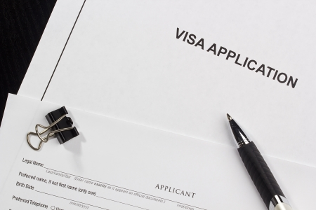 directly: Directly above photograph of an application for a visa. Stock Photo