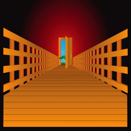 The door to the nature of the wooden flooring.  Illustration