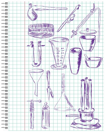 siphon: A set of chemical equipment in a school notebook in the box.