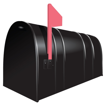 The mailbox with the flag raised. Vector illustration. Illustration