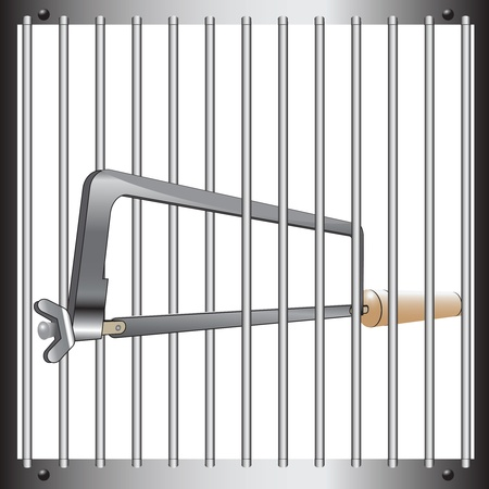 gaol: Prison bars with a hacksaw. Vector illustration.