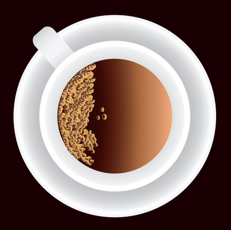A cup of coffee with bubbles. Vector illustration.