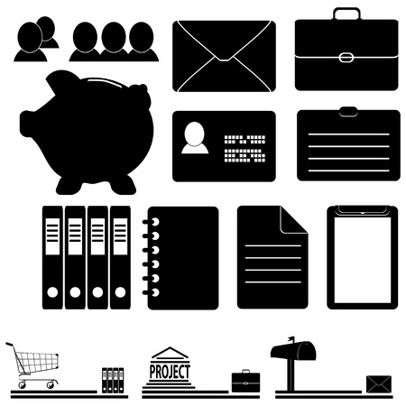 A set of business icons with their possible use in the design. Vector illustration. Stock Vector - 13750109