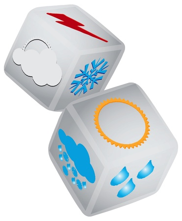 Playing dice with the synoptic symbols. Vector illustration.