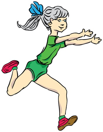 outstretched: Running girl with outstretched arms.