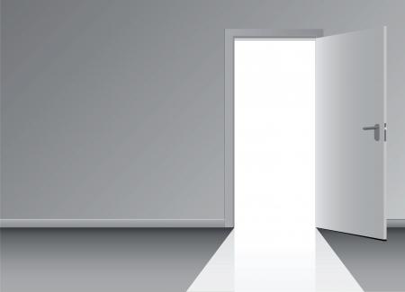 door open: Open the door to the doorway   Illustration