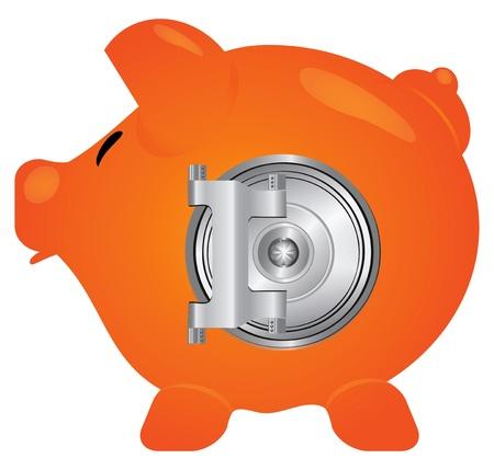 The steel door to the piggy bank. Stock Vector - 13799397