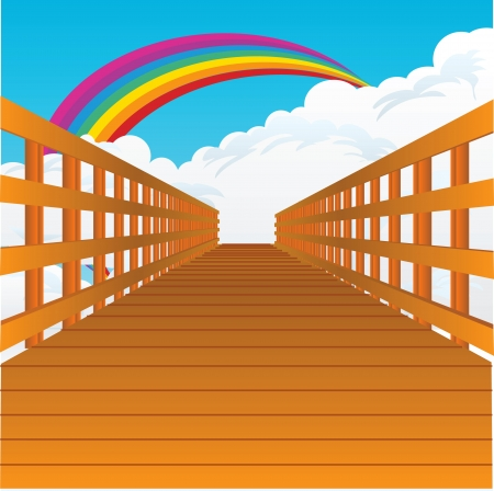 pons: A bridge stretching into the sky with clouds and a rainbow.