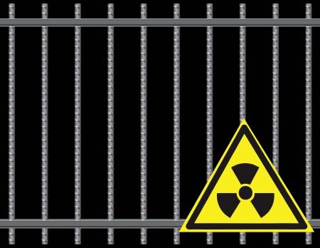 Steel reinforcing rods of the grill.  Radioactive Sign.  Vector
