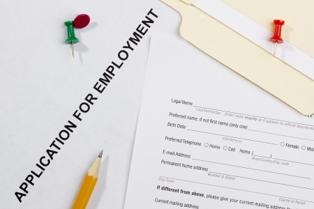 Directly above photograph of a job application. Stock Photo - 13848946