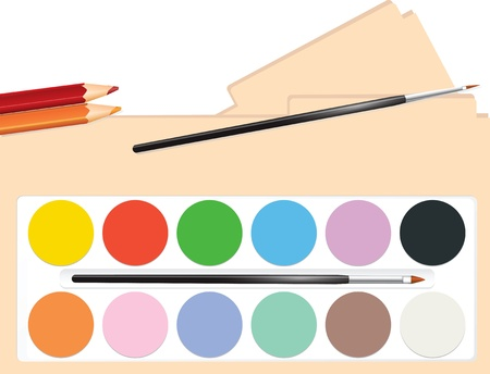 A set of watercolor paints with brushes.