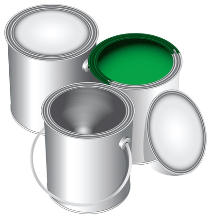 verfblik: Drie versies van de standaard blikken verf, gesloten, open en leeg met groene verf.