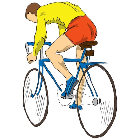 bicycler: Cyclist on the sports bike. illustration.