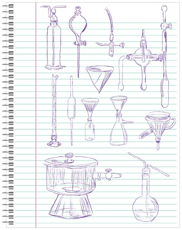 filtration: A set of laboratory equipment in a school notebook. illustration. Illustration