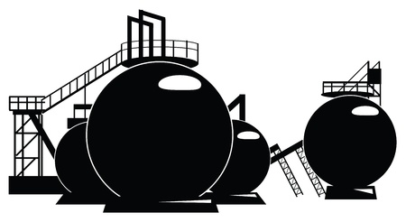 ecologist: Industrial processing of a storage tank. illustration.