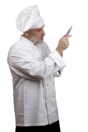 Portrait of a caucasian chef in his uniform on a white background  Stock Photo - 13984816