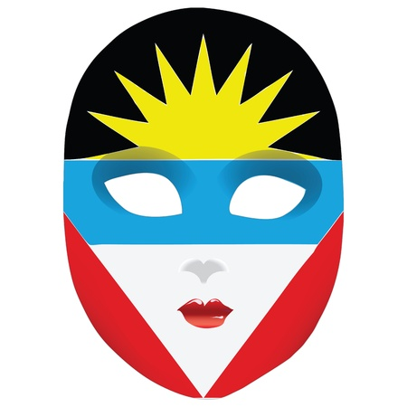 statehood: Classic mask with symbols of statehood of Antigua and Barbuda