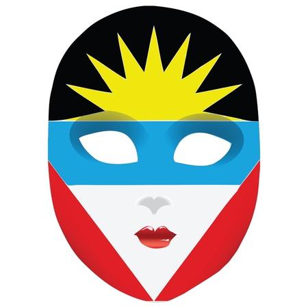 antigua: Classic mask with symbols of statehood of Antigua and Barbuda