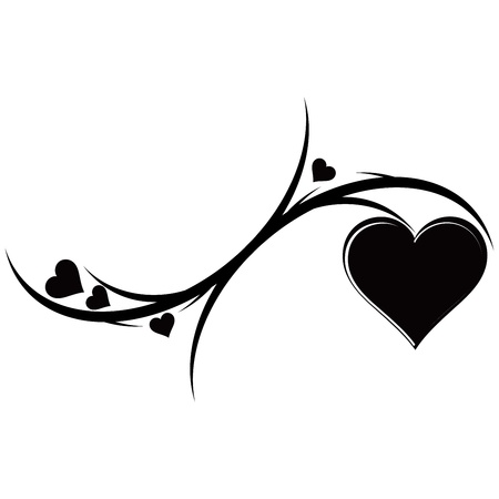 The decorative ornament with hearts. Tattoo. Vector illustration. 일러스트