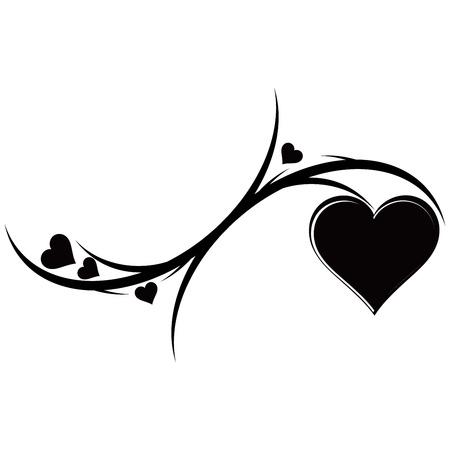 De decoratieve ornament met hartjes. Tattoo. Vector illustratie. Stock Illustratie
