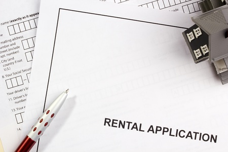 testimony: Directly above photograph of a rental application. Stock Photo
