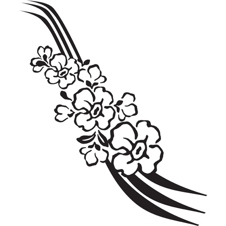 Decorative flowers in the style of tattoo.