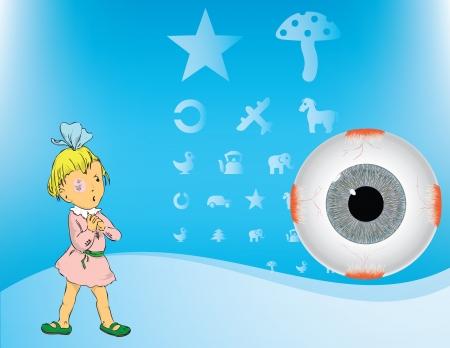 弱視疾患で目に包帯を持つ少女。Betey と目のテーブルをテストします。