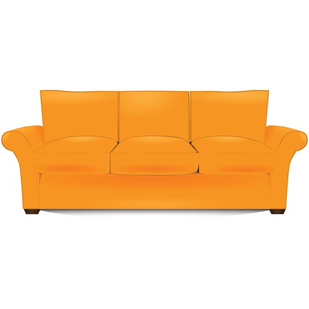 divan: The item of furniture, three-section couch. Vector illustration.