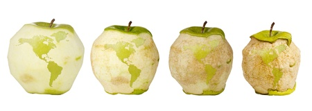international recycle symbol: Green apple with a carving of the world map shown four times over a timespan of its deterioration.