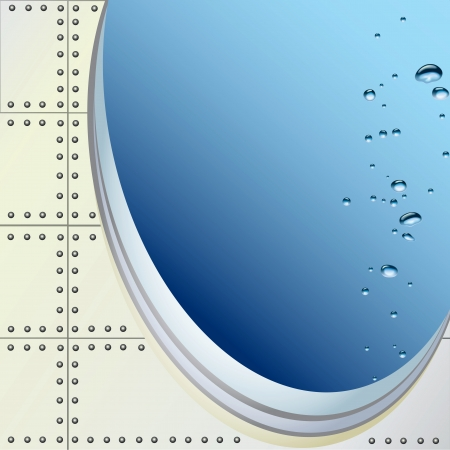 plating: Submersible porthole with air bubbles. Vector illustration.