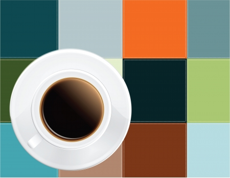A cup of black coffee colored cloth napkin. Vector illustration. Stock Vector - 14120577