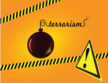 Creative on terror bomb with a fuse sign of terrorism. Vector illustration. Imagens - 14120578