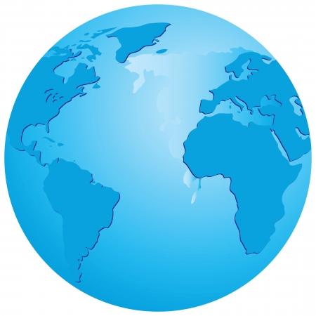 акцент: Прозрачный шар с акцентом на Атлантический океан. Векторные иллюстрации.