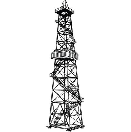 Rig voor de exploratie en het boren van putten voor de olieproductie. Stock Illustratie
